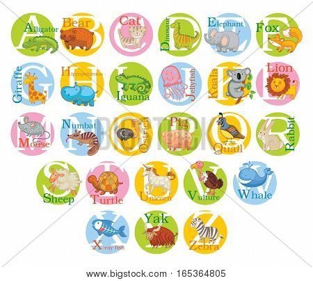Cute animal alphabet. Funny cartoon character. Vector illustration. Isolated on white background. Set