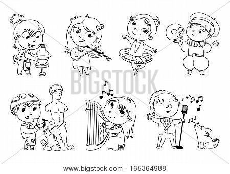 Hobbies and interests. Ballet studio, music school, theater workshop, school of fine arts, sculpture studio. Funny cartoon character. Vector illustration. Coloring book. Set