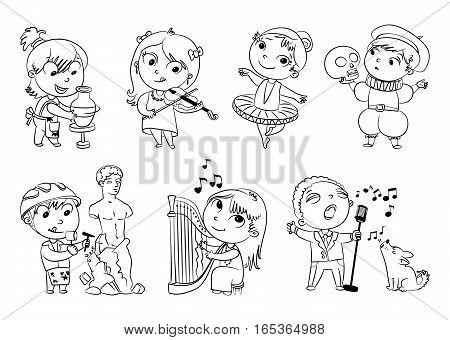 Hobbies and interests. Ballet studio, music school, theater workshop, school of fine arts, sculpture studio. Funny cartoon character. Vector illustration. Coloring book. Set