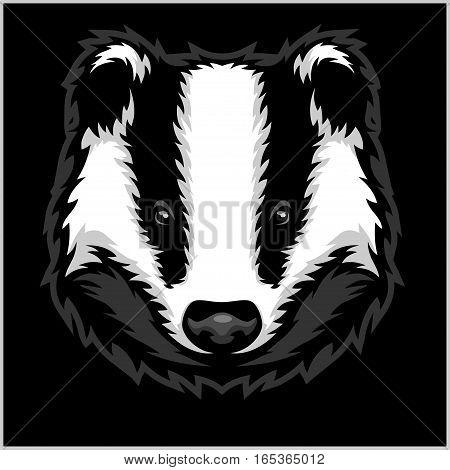 Badger Head black and white - vector illustration