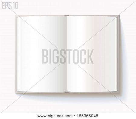 Blank open book on white background. Vector illustration. Eps 10
