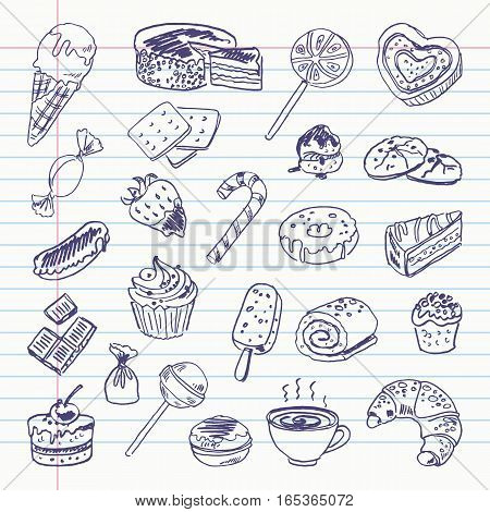 Freehand drawing sweetness items on a sheet of exercise book. Vector illustration. Set
