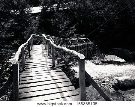 Puente de aventura hacia las torres del paine