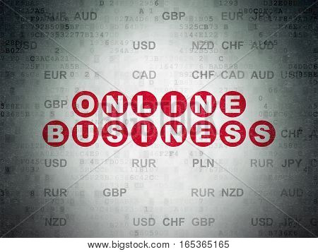 Business concept: Painted red text Online Business on Digital Data Paper background with Currency