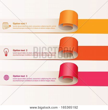 Set of infographics elements in the form of paper tape for various purposes. Vector illustration. Isolated on white background