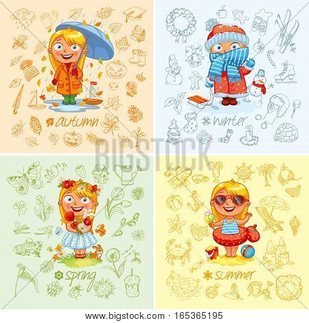 Baby girl and the four seasons. Freehand drawing autumn, winter, spring, summer items on a sheet of exercise book. Vector illustration. Set