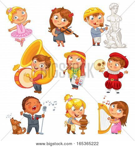 Hobbies and interests. Ballet studio, music school, theater workshop, school of fine arts, sculpture studio. Funny cartoon character. Vector illustration. Isolated on white background. Set
