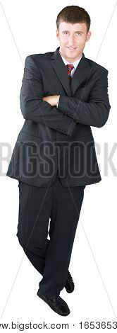 Confident Businessman Standing with Arms Folded - Isolated
