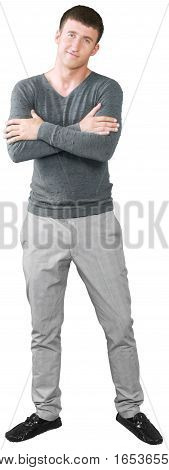 Young Man Standing with Crossed Arms - Isolated
