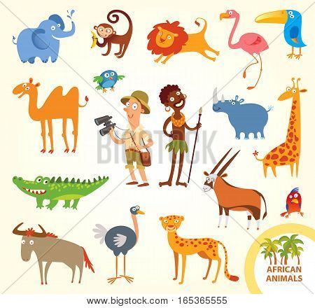 Set funny african animals. Cartoon character. Isolated on white background. Elephant, monkey, lion, flamingo, toucan, rhino, camel, giraffe, crocodile, parrot, cheetah, wildebeest, ostrich, oryx