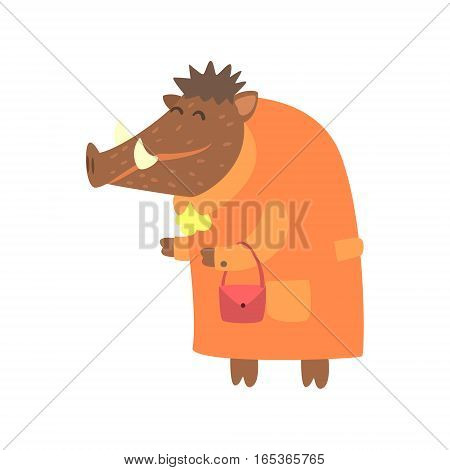 Wild Boar Dressed As Old Lady With Coat And Purse, Forest Animal Dressed In Human Clothes Smiling Cartoon Character. Vector Childish Flat Illustration With Funky Woodland Fauna.