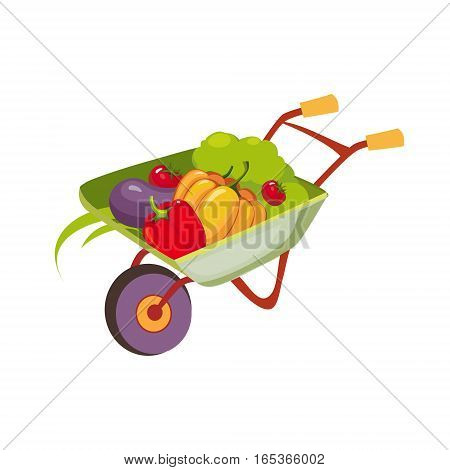 Fresh Vegetables Harvest In Wheel Barrel, Farm And Farming Related Illustration In Bright Cartoon Style. Organic And Natural Product Symbol Colorful Vector Illustration.