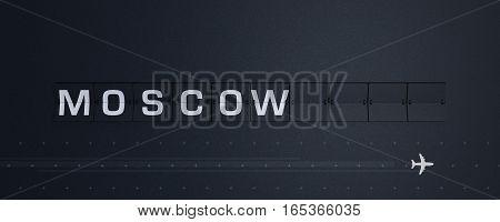 3D Rendering retro Flip Board Capital moscow