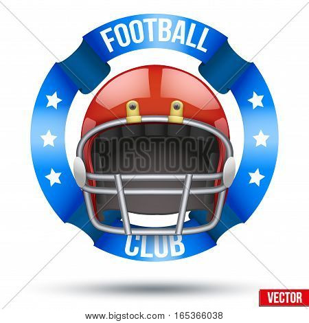 American Football Label. Helmet with ribbons. Sporting Symbol and mascot. Vector Illustration Isolated on white background.