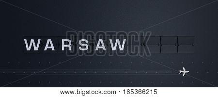3D Rendering retro Flip Board Capital warsaw