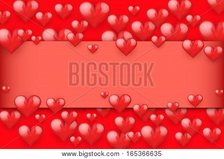 Red Romantic Hearts Background with space for text. Card and Invitation of Happy Valentines Day Greetings. Vector Illustration