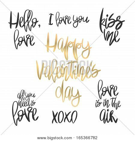 Set of 7 decorative handdrawn lettering. Modern ink calligraphy. Handwritten black and gold Valentines Day phrases isolated on white. Trendy vector design elements for decor, cards and posters