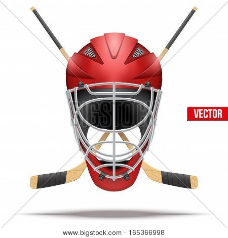 Ice hockey symbol with goalie helmet and sticks. Design elements. Illustration isolated on white background.