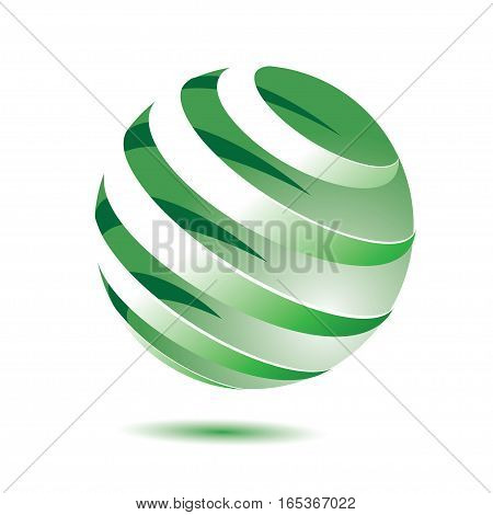 3d green globe with shadow on white background