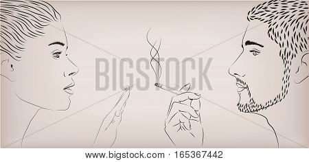 Woman female girl lady ban prohibit against men smoking smoke cigarette male face to face profile. Vector horizontal beautiful lifestyle sign signboard close-up side view illustration beige background