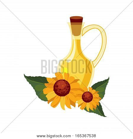 Sunflower Seeds Oil Glass Bottle and Sunflowers, Farm And Farming Related Illustration In Bright Cartoon Style. Organic And Natural Product Symbol Colorful Vector Illustration.