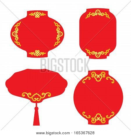 Red lantern banner tag for Chinese Festival and Event Celebrations vector design