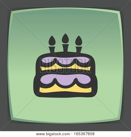 Vector outline birthday cake with candles food icon on green flat square plate. Elements for mobile concepts and web apps. Modern infographic logo and pictogram.