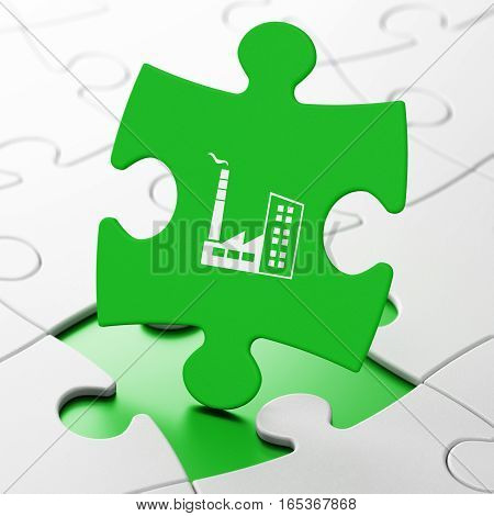 Business concept: Industry Building on Green puzzle pieces background, 3D rendering