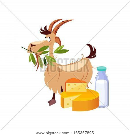 Goat Eating A Branch And Set Of Cheese And Milk Dairy Food, Farm And Farming Related Illustration In Bright Cartoon Style. Organic And Natural Product Symbol Colorful Vector Illustration.