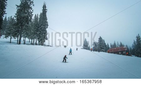 Children and adults skiing downhill skiing with child up front