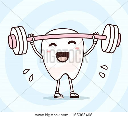 Vector Illustration Of Smile White Tooth With Barbell Lifting Weights On Blue Background. Exercising