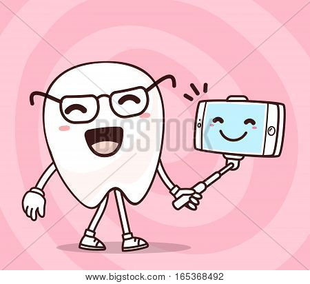 Vector Illustration Of Smile White Tooth With Phone Making Selfie On Pink Background. Selfie Cartoon