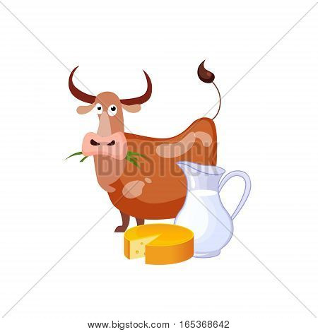 Caow Eating Grass And Dairy Food, Milk And Cheese, Farm And Farming Related Illustration In Bright Cartoon Style. Organic And Natural Product Symbol Colorful Vector Illustration.