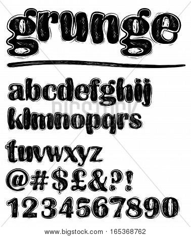 Grunge scratchy lowercase black and white alphabet set numbers question mark exclamation mark at sign hash tag dollar sign pound sign uppercase set available in portfolio too