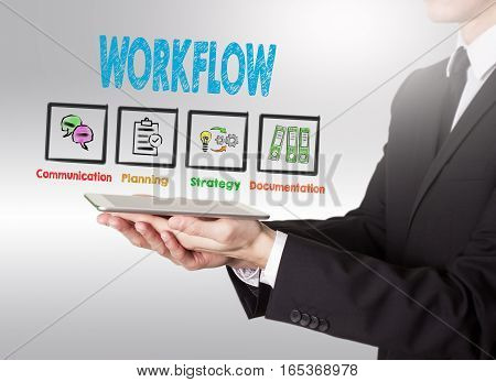 Workflow concept, young man holding a tablet computer.