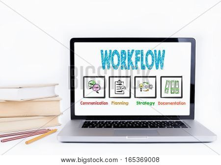 Workflow. Laptop and books on a white background.