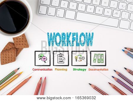 Workflow. White office desk Computer keyboard, coffee mug and colored pencils
