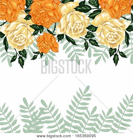 Hand drawn invitation cards with flowers yellow roses on a white background, vector illustration