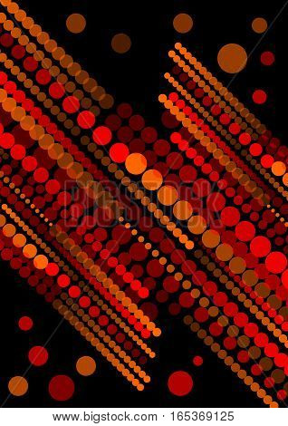Abstract background composed of red semitransparent circles and dots arranged in diagonal strips on black background