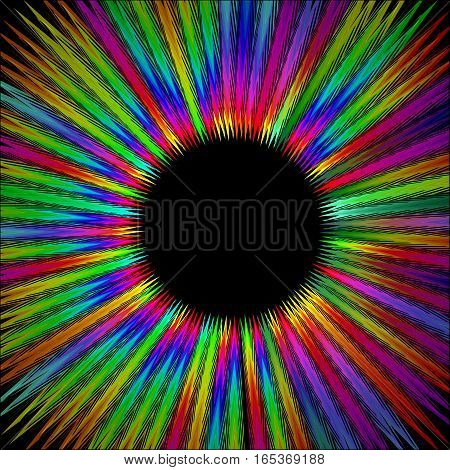 Rainbow furry circle shape with black area in middle gritty psychedelic rays in life energy aura