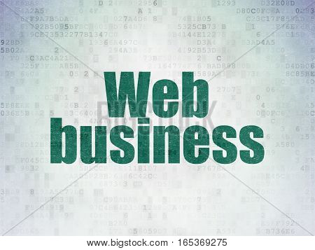 Web development concept: Painted green word Web Business on Digital Data Paper background