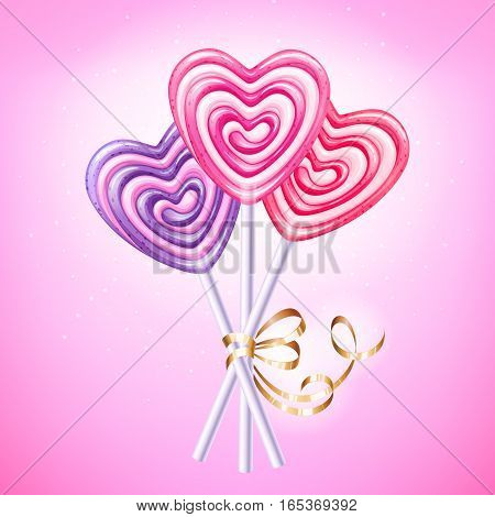 Heart lollipop vector illustration. Sweet spiral candies on stick with golden ribbon and bow. Love symbol. Good for Valentines day design. Pink, red and purple hard candy.