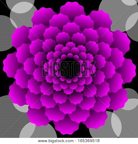 Abstract scarlet vector flower pattern in fractal style on black background high contrasting decorative tile with 3d effect