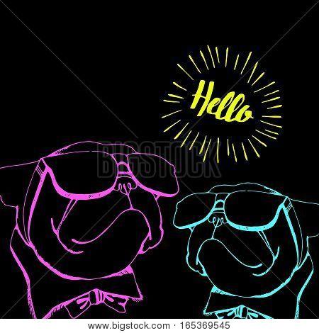 bulldog dog animal french vector illustration pet breed cute drawing puppy