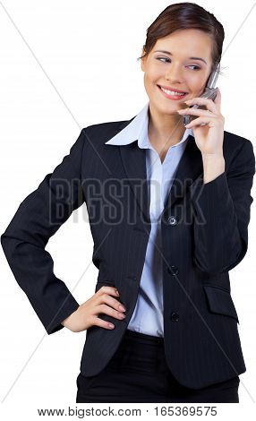 Businesswoman Talking on the Phone with Hand on Hip - Isolated