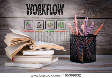 Stack of books and pencils on the wooden table.
