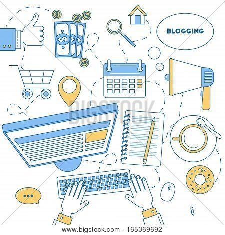 Blogging Illustration Line Design.