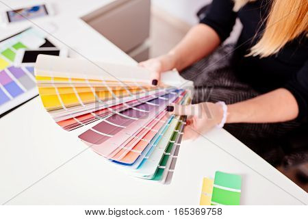 Woman Designer Or Architect Choosing Color