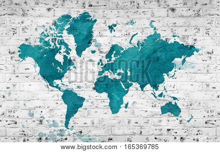 Illustrated map of the world with a brick wall. Horizontal background.