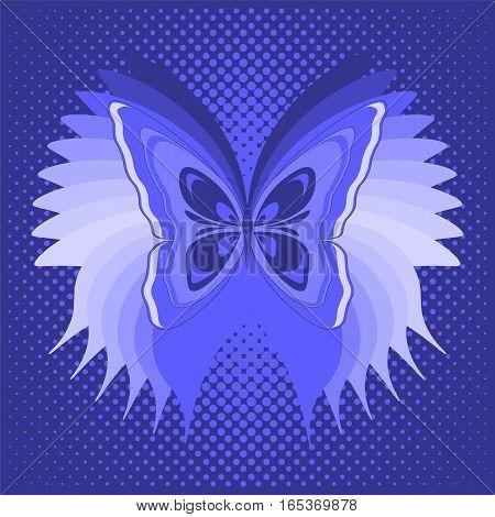 Blue butterfly poster. Vector illustration 10 EPS